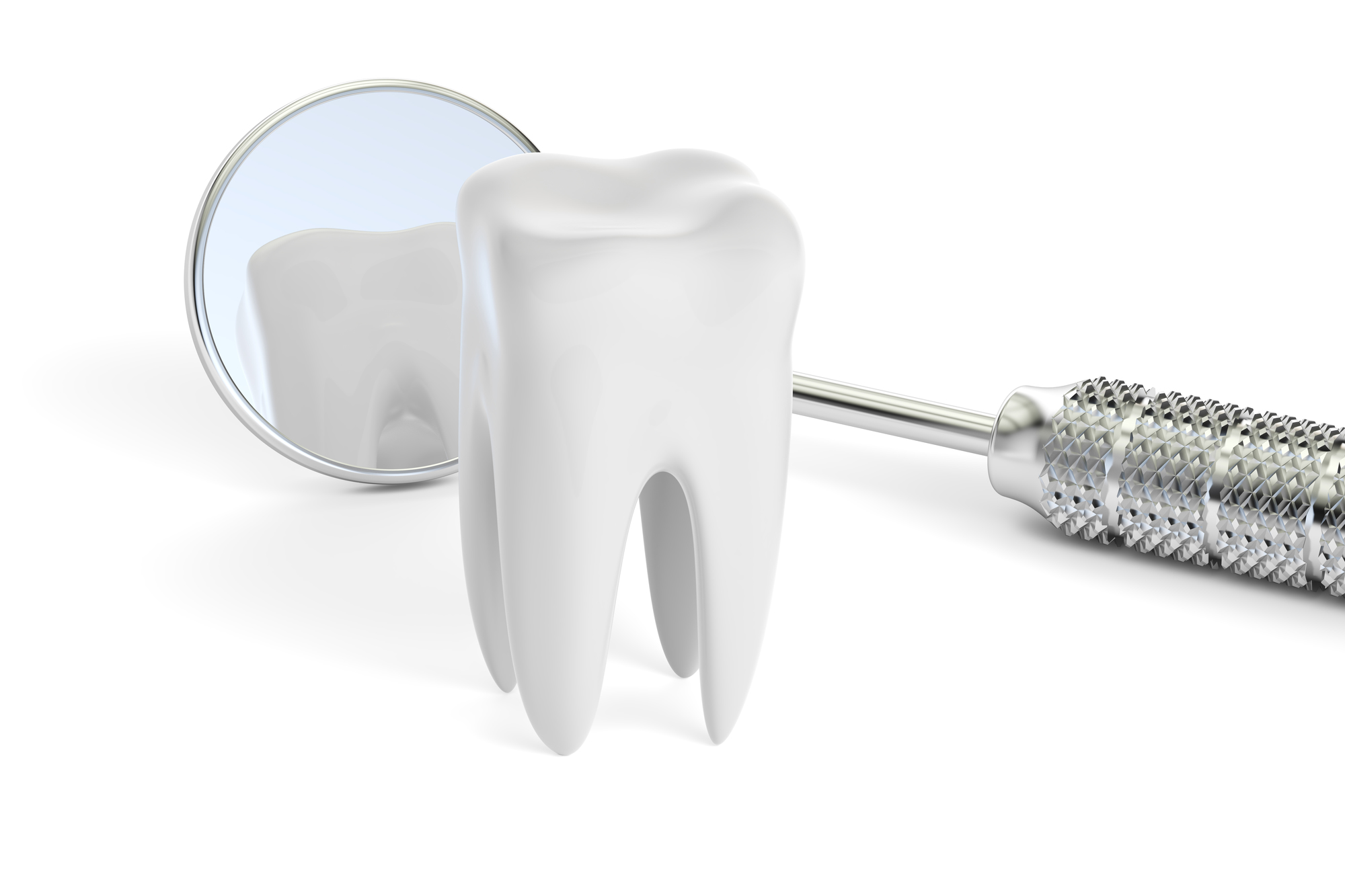 Dental concept, mouth mirror and  tooth, 3D rendering